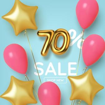 Wyprzedaż promocyjna z rabatem 70 wykonana z realistycznej złotej liczby 3d z balonami i gwiazdami. numer w postaci złotych balonów.