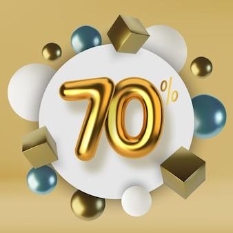 Wyprzedaż promocyjna z rabatem 70 z tekstem 3d w kolorze złotym realistyczne kule i kostki