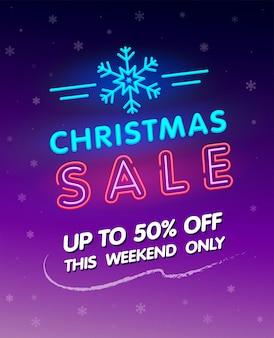 Wyprzedaż świąteczna. neon świecący znak. transparent wektor. świecący tekst promocyjny z neonowym znakiem płatka śniegu