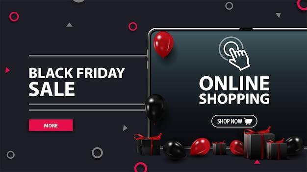 Wyprzedaż w czarny piątek, czarny baner rabatowy z tabletem, czerwone i czarne balony, prezenty i przycisk. zakupy online w czarny piątek