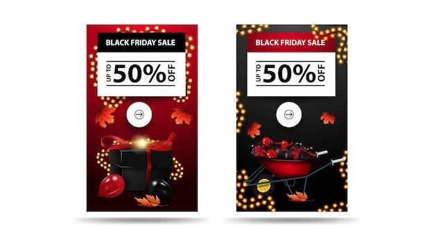 Wyprzedaż w czarny piątek, do 50% zniżki, zestaw pionowych banerów rabatowych na białym tle. czerwono-czarne banery z prezentami i girlandami