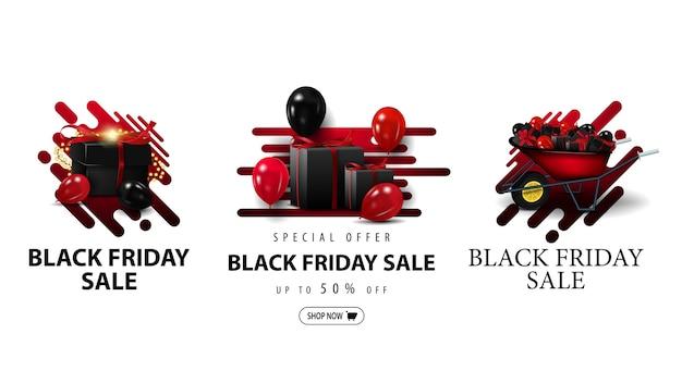 Wyprzedaż w czarny piątek, duży zestaw kuponów rabatowych w płynnych kształtach z taczką z prezentami, prezentem i balonami