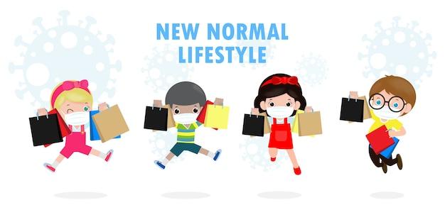 Wyprzedaż w czarny piątek ludzie postacie kreskówka z torbą na zakupy, nowy normalny styl życia zakupowego z ochroną koronawirusa lub covid-19