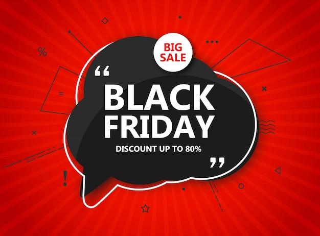 Wyprzedaż w czarny piątek, plakat zakupowy. sezonowy rabat transparent - czarny dymek i napis na promieniowym czerwonym tle. szablon projektu na zakupy reklamowe, ulotki, zamknięcie w święto dziękczynienia