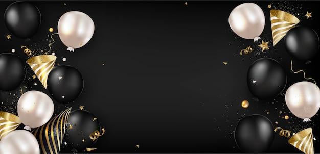 Wyprzedaż w czarny piątek. płaski świecki sztandar z balonami, dekoracja świąteczna. widok z góry. .