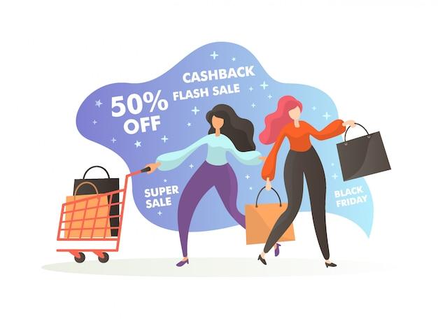 Wyprzedaż w czarny piątek. postacie kobiety z torbami na zakupy i koszykiem kupujące jakiś przedmiot z dużym rabatem i zwrotem pieniędzy.