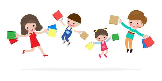 Wyprzedaż w czarny piątek, szczęśliwe rodzinne zakupy, rodzice i dzieci z zakupami w koszyku, wielka wyprzedaż. zakup towarów i prezentów. koncepcja zakupy na białym ilustracji