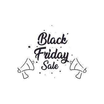 Wyprzedaż w czarny piątek z płaską ikoną megafonów, motywem oszczędzania oferty i zakupów