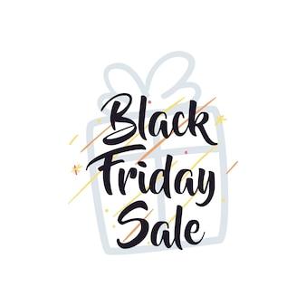 Wyprzedaż w czarny piątek z prezentem i gwiazdami w stylu płaskiej ikony, motywem do zapisywania oferty i zakupów