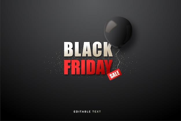 Wyprzedaż w czarny piątek z prostym pismem i czarnymi balonami 3d.