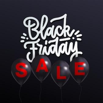 Wyprzedaż w czarny piątek z realistycznymi czarnymi balonami i literami wyprzedaż na każdym balonie helowym.