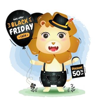 Wyprzedaż w czarny piątek z uroczym lwem z promocją balonu i ilustracją torby na zakupy