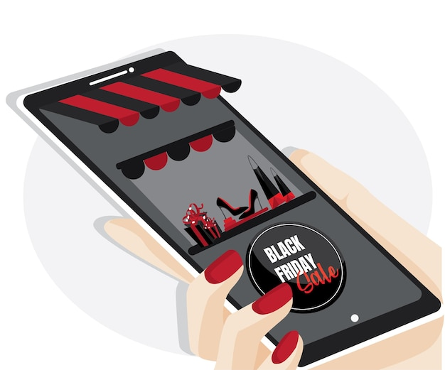 Wyprzedaż w czarny piątek. zakupy online na stronie internetowej lub w aplikacji mobilnej vector concept marketing i marketing cyfrowy