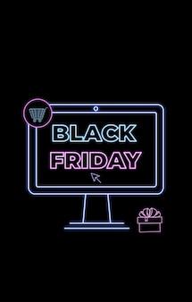 Wyprzedaż w czarny piątek. zakupy online, reklamy internetowe w stylu neonowym. handel elektroniczny. baner promocyjny