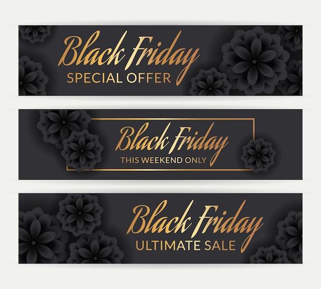 Wyprzedaż w czarny piątek. zestaw banerów rabatowych z czarnymi kwiatami i złotym tekstem promocyjnym. eleganckie szablony wektorowe.