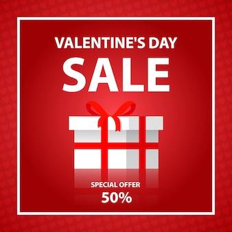 Wyprzedaż walentynkowa 50% rabatu na kompozycję z pudełkiem prezentowym. rynek zakupów szablon poziomy baner. tło z różowymi sercami.