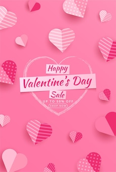 Wyprzedaż walentynkowa 50% zniżki na plakat lub baner z wieloma słodkimi serduszkami i na czerwonym szablonie promocji i zakupów lub miłości na papierze