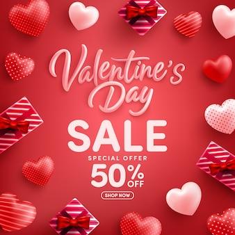 Wyprzedaż walentynkowa 50% zniżki plakat lub baner z wieloma słodkimi serduszkami i czerwonym pudełkiem upominkowym