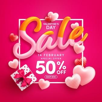 Wyprzedaż walentynkowa 50% zniżki plakat lub baner ze słodkimi serduszkami i czerwonym pudełkiem prezentowym