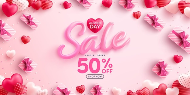 Wyprzedaż walentynkowa 50% zniżki plakat lub baner ze słodkimi serduszkami i różowym pudełkiem prezentowym