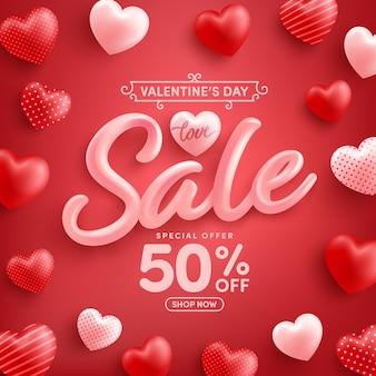 Wyprzedaż walentynkowa 50% zniżki plakat lub baner ze słodkimi serduszkami na czerwono