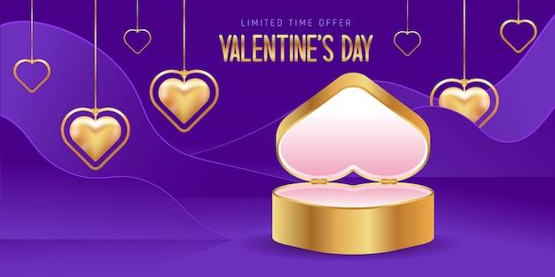 Wyprzedaż walentynkowa. walentynkowa pusta platforma lub platforma produktowa. pudełko w kształcie serca. złote naszyjniki w kształcie serca.