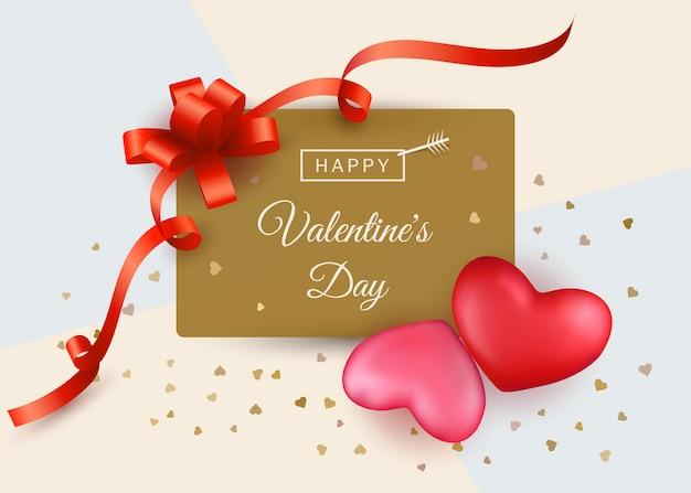 Wyprzedaż walentynkowa z dwoma czerwonymi i różowymi sercami i prezentem wstążkowym