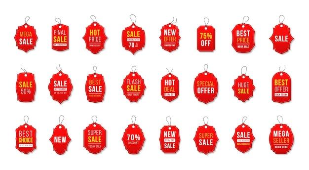 Wyprzedaż wstążki odznaki banery metki cenowe nowe oferty kolekcja w kolorze czerwonym
