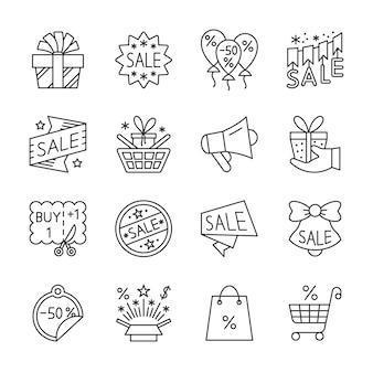 Wyprzedaż, wyprzedaż, rabat zestaw ikon linii, zima, czas świąteczny specjalny znak sprzedaży, edytowalny obrys