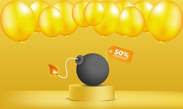 Wyprzedaż z żółtym balonem wektorem