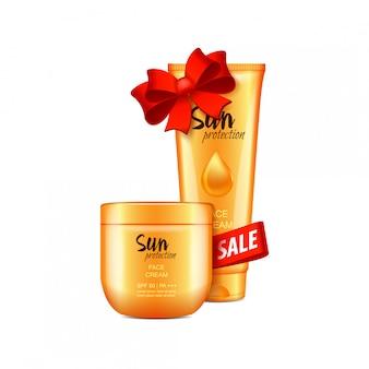 Wyprzedaż, zestaw kosmetyków z czerwoną wstążką i kokardką, ilustracja. dla stron internetowych, czasopism lub reklam