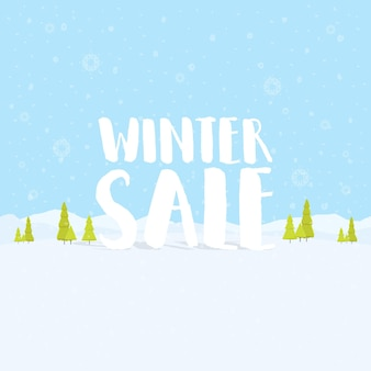 Wyprzedaż zima słowa na pięknym chrismas płaskiej zimowe wakacje krajobraz tło z drzew, płatki śniegu, padający śnieg. ilustracja wektorowa
