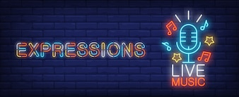 Wyrażenia na znak neon muzyka na żywo. Niebieski mikrofon z gwiazdami i znakami melodii