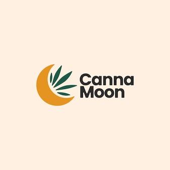 Wyrafinowany estetyczny szablon logo cannabis moon półksiężyc
