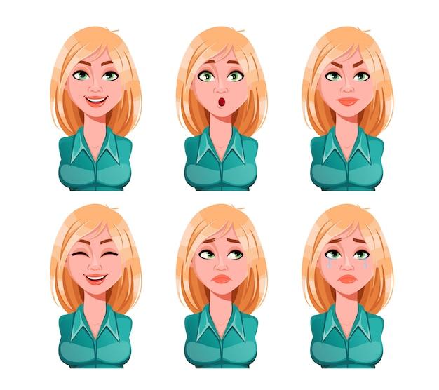 Wyraz twarzy kobiety o blond włosach