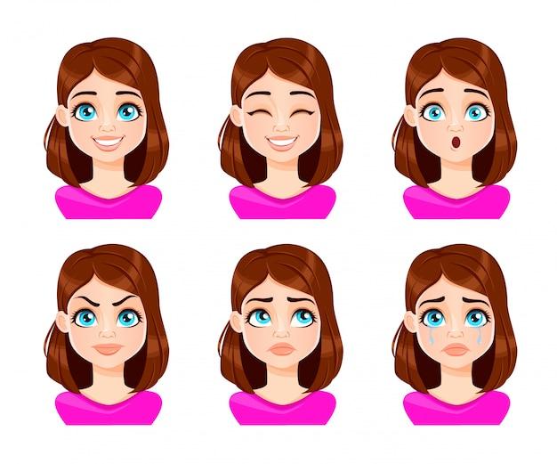 Wyraz twarzy kobiety w fioletowej bluzce