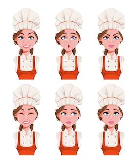 Wyraz twarzy pięknej młodej kobiety szefa kuchni