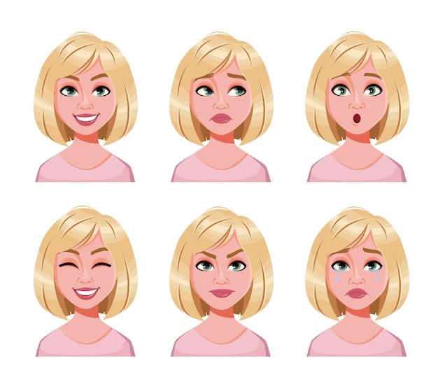 Wyraz twarzy ślicznej blondynki kobiety