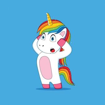 Wyraz unicorn, który był zszokowany kreskówką