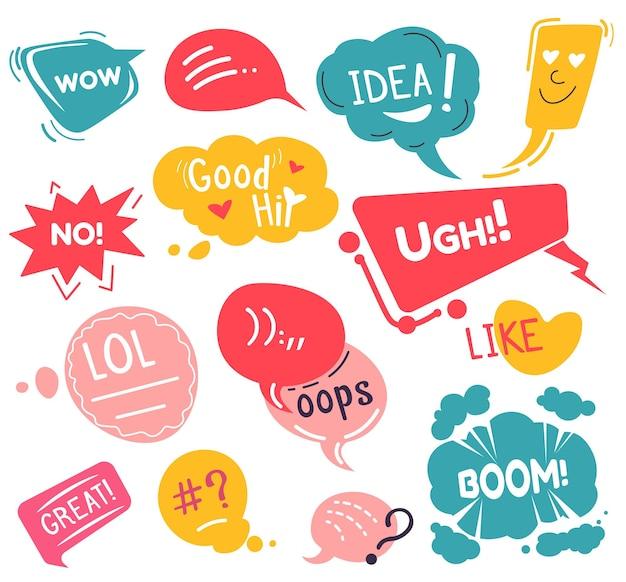 Wyrażanie emocji w mediach społecznościowych, pojedyncze naklejki i emotikony z tekstem. cześć i lol, pomysł i ugh, bum i ups. komunikacja w sieci, czaty i rozmowy online. wektor w stylu płaskiej