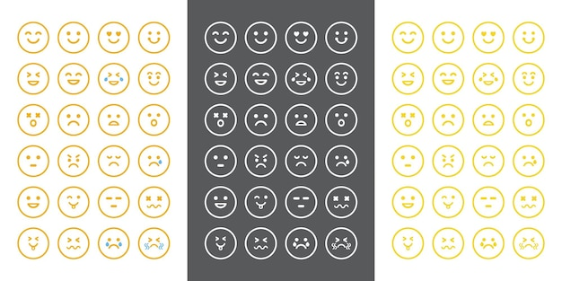 Wyrażanie koncepcji emocji ustawia twarz postaci emoji w różnych emocjach