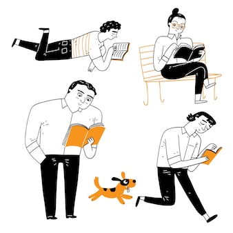 Wyrażanie osobowości osób czytających książkę. ilustracja wektorowa