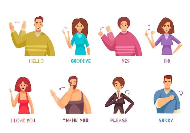 Wyrażenia języka migowego z ludźmi rozmawiającymi płaska ilustracja