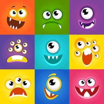 Wyrażenia potworów. zabawny potwór kreskówka twarze wektor. płaskie ilustracja potwora emocji