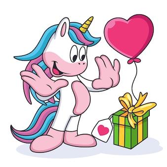 Wyrażenie cute unicorn cartoon is scared
