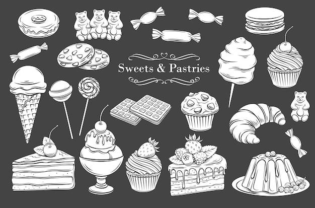 Wyroby cukiernicze i słodycze na białym tle ikony glifów.