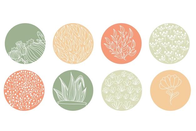 Wyróżnij zestaw okładek, abstrakcyjne kwiatowe ikony botaniczne dla mediów społecznościowych. ilustracja wektorowa