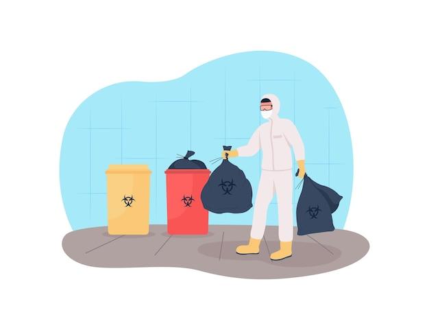 Wyrzuć Odpady Medyczne 2d. Pozbywanie Się Plastikowych Masek. Premium Wektorów