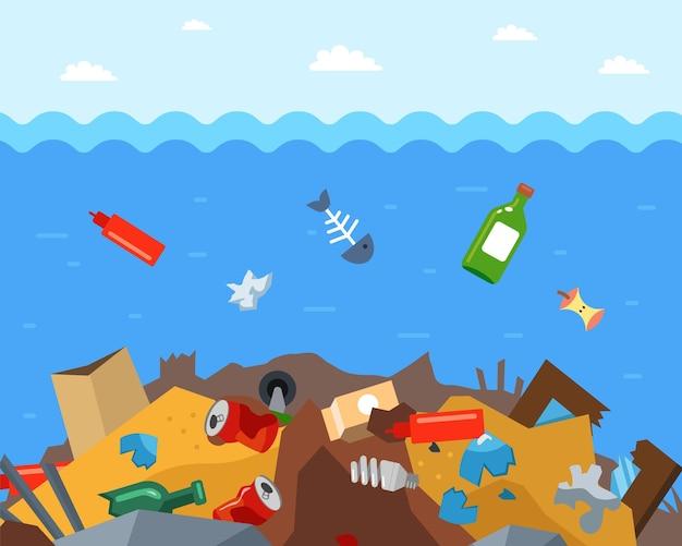 Wyrzuć śmieci na dno oceanu. katastrofa ekologiczna w wodzie. ilustracja wektorowa płaskie.