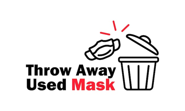 Wyrzuć zużytą ikonę maski medycznej w kolorze czarnym i covid 19 lub pandemiczną opiekę zdrowotną. wektor